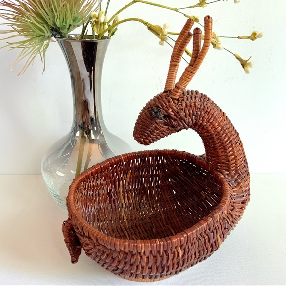 Vintage Deer Shaped Woven Wicker Basket Antlers